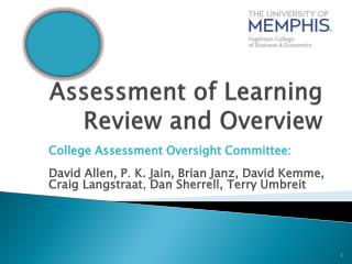 Assessment of Learning Review and Overview