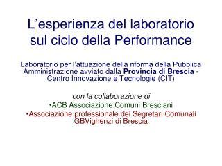 L'esperienza del laboratorio sul ciclo della Performance