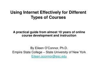 Using Internet Effectively for Different Types of Courses