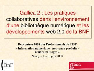Rencontres 2008 des Professionnels de l�IST