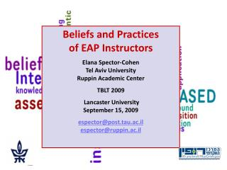 Beliefs and Practices  of EAP Instructors