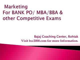 Marketing  For BANK PO/ MBA/BBA &    other Competitive Exams