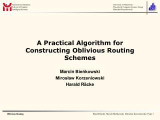 A Practical Algorithm for Constructing Oblivious Routing Schemes