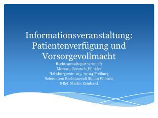 Informationsveranstaltung: Patientenverfügung und Vorsorgevollmacht