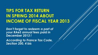 Tips for Tax Return  in  Spring  2014 about  Income  of  Fiscal  Year  2013