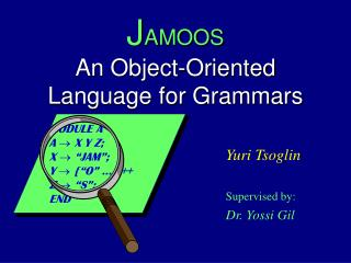 J AMOOS An Object-Oriented Language for Grammars
