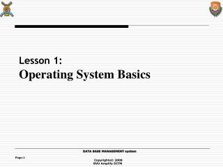 Lesson 1: Operating System Basics