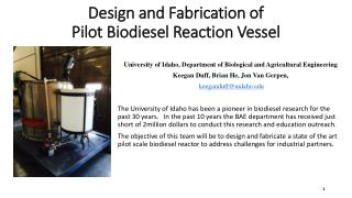 Design and Fabrication of  Pilot  Biodiesel  Reaction  Vessel