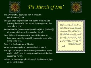 The Miracle of Isra'