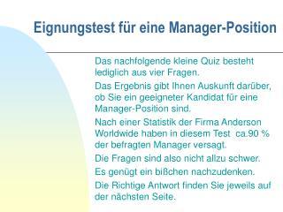 Eignungstest für eine Manager-Position