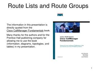Route Lists and Route Groups