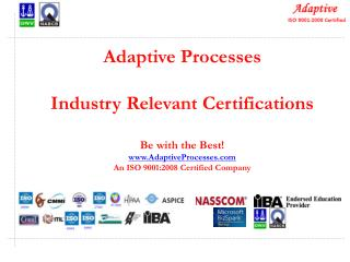 Adaptive Processes Industry Relevant Certifications