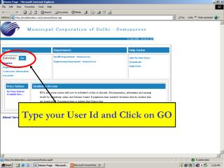 Type your User Id and Click on GO