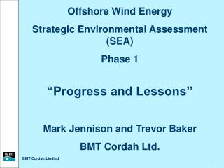"Offshore Wind Energy Strategic Environmental Assessment (SEA) Phase 1 ""Progress and Lessons"""