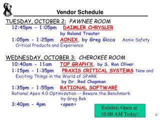 Vendor Schedule