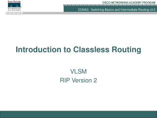 Introduction to Classless Routing