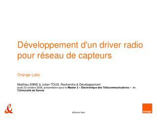 Développement d'un driver radio pour réseau de capteurs