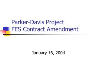 Parker-Davis Project FES Contract Amendment