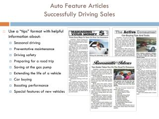 Auto Feature Articles  Successfully Driving Sales