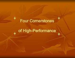Four Cornerstones of High-Performance