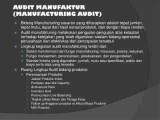 AUDIT MANUFAKTUR (MANUFACTURING AUDIT)