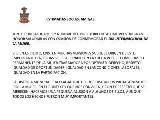 ESTIMADAS SOCIAS, AMIGAS: