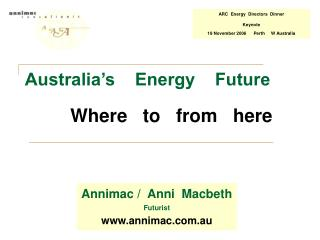 Australia's    Energy    Future Where   to   from   here