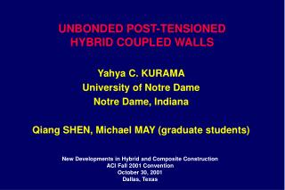 UNBONDED POST-TENSIONED HYBRID COUPLED WALLS