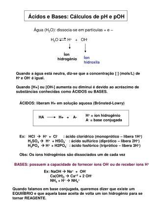 Ácidos e Bases: Cálculos de pH e pOH