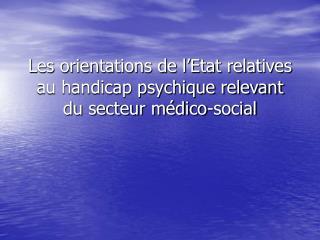 Les orientations de l Etat relatives au handicap psychique relevant du secteur m dico-social