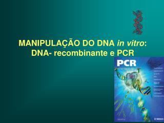 MANIPULAÇÃO DO DNA  in vitro : DNA- recombinante e PCR