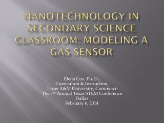 Nanotechnology in Secondary Science Classroom: Modeling a Gas Sensor
