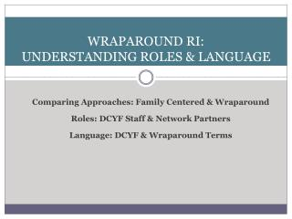 Wraparound Ri: Understanding Roles  LANGUAGE