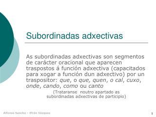 Subordinadas adxectivas