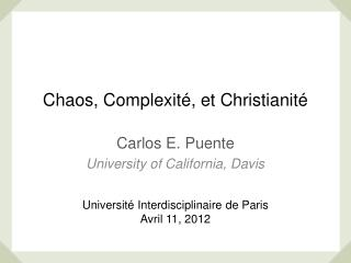 Chaos, Complexité, et Christianité