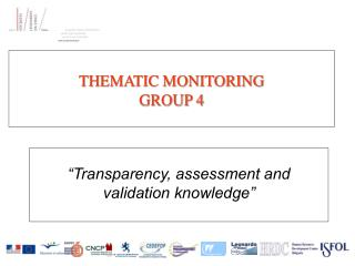 THEMATIC MONITORING GROUP 4