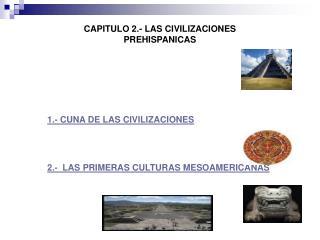 CAPITULO 2.- LAS CIVILIZACIONES PREHISPANICAS 1.- CUNA DE LAS CIVILIZACIONES