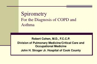 Spirometry For the Diagnosis of COPD and Asthma
