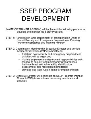 SSEP PROGRAM DEVELOPMENT