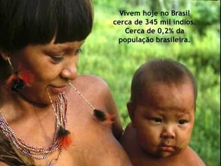 Vivem hoje no Brasil cerca de 345 mil índios. Cerca de 0,2% da população brasileira.