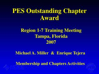 PES Outstanding Chapter Award