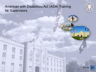 American with Disabilities Act (ADA) Training for Supervisors