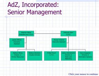 AdZ, Incorporated: Senior Management