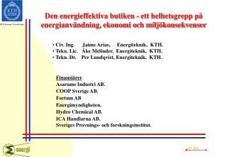 Den energieffektiva butiken - ett helhetsgrepp på energianvändning, ekonomi och miljökonsekvenser