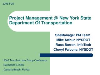 Project Management @ New York State Department Of Transportation