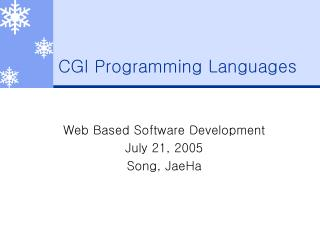 CGI Programming Languages