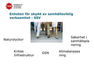 Enheten för skydd av samhällsviktig verksamhet - SSV