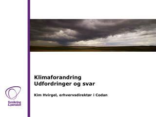 Klimaforandring Udfordringer og svar Kim Hvirgel, erhvervsdirektør i Codan