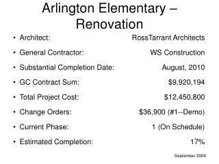 Arlington Elementary � Renovation