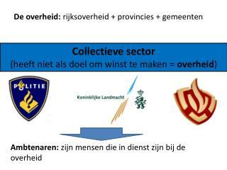 Collectieve sector (heeft niet als doel om winst te maken =  overheid )